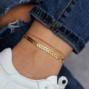 🎉 Gold Plated Fishbone Ankle Anklet Bracelet